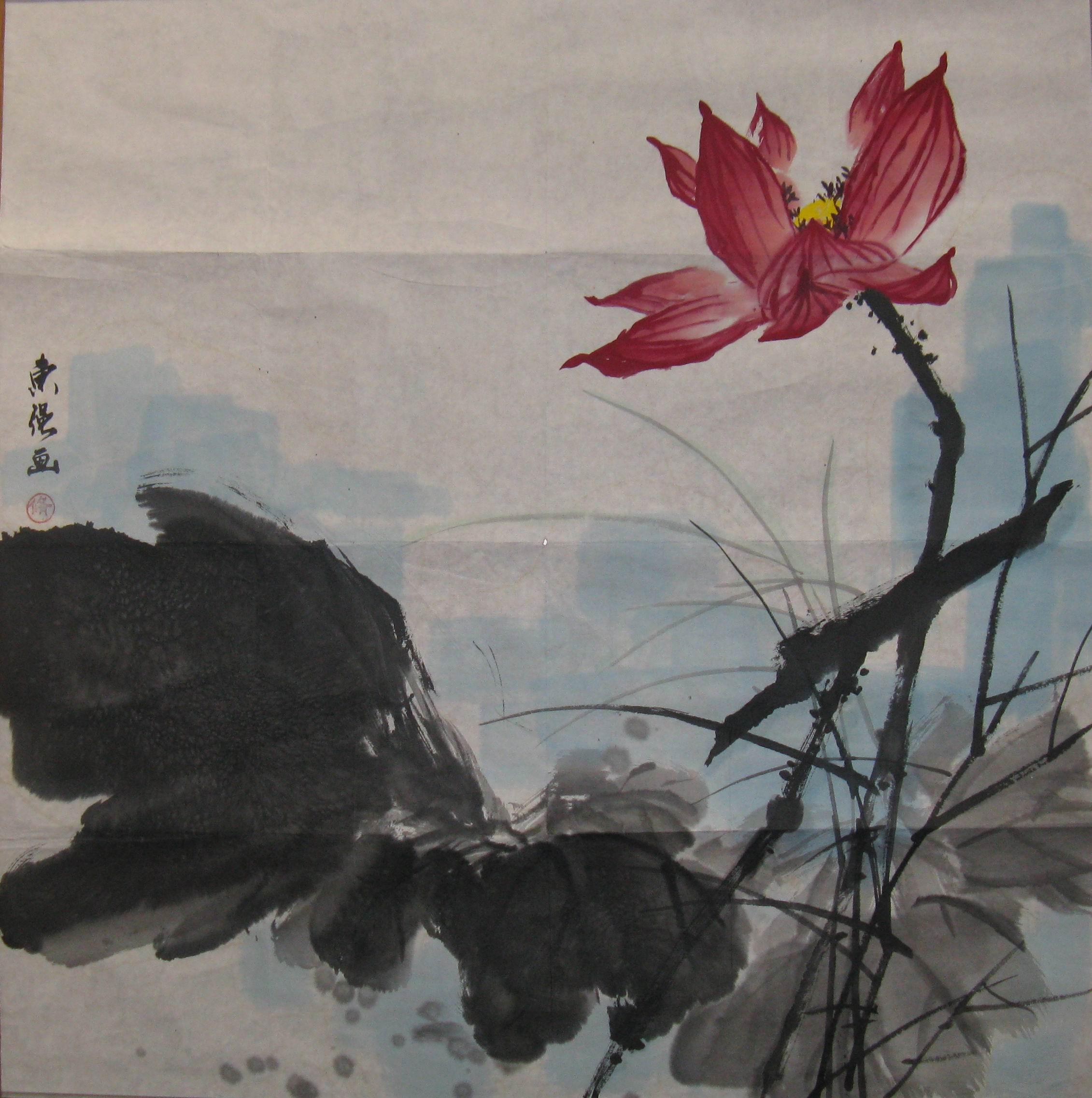 荷花-国画--名人画家书法作品欣赏-墨韵堂-环球潮人图片